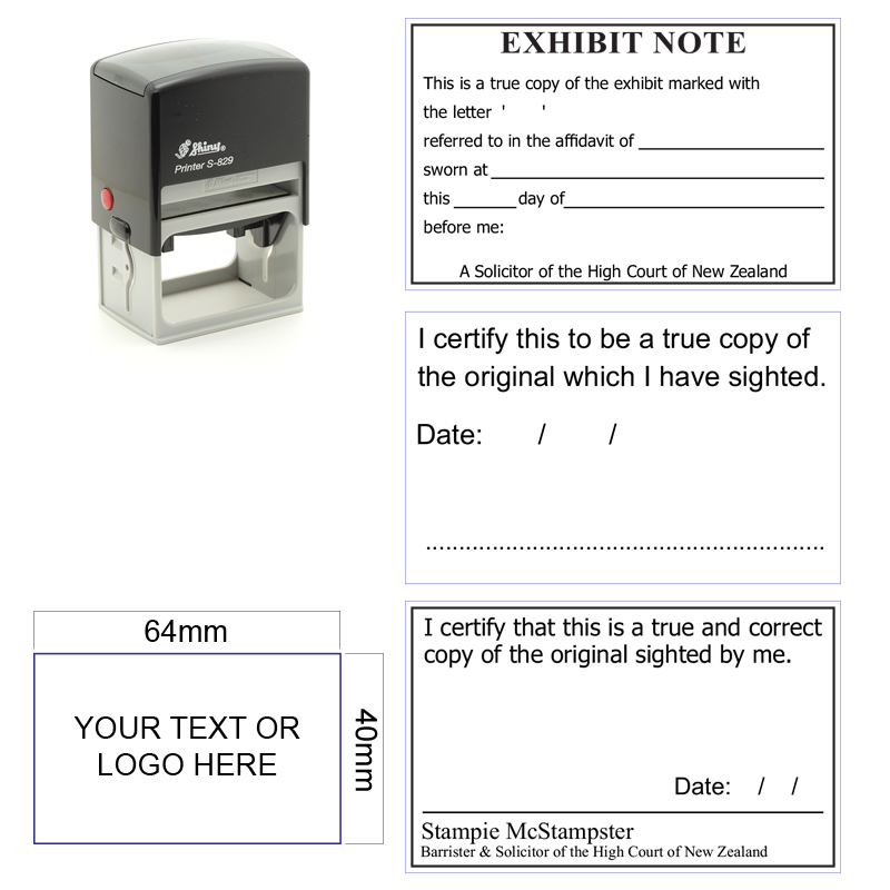 S829 Stamp 64x40mm Self Inking Legal Stamp
