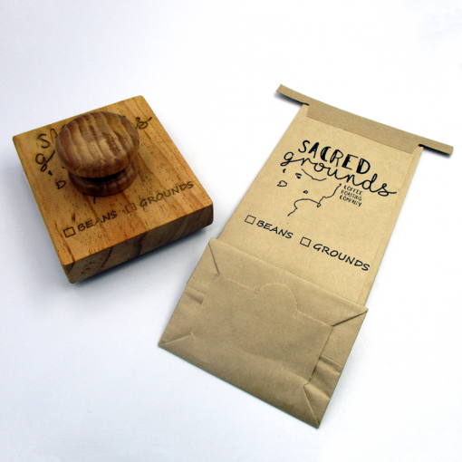 Wooden Traditional Style Stamp - Coffee