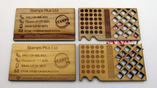 Wood Engraved Business Cards Front
