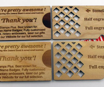 Wood Engraved Business Cards Back