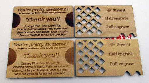 Wood Engraved Business Cards Back